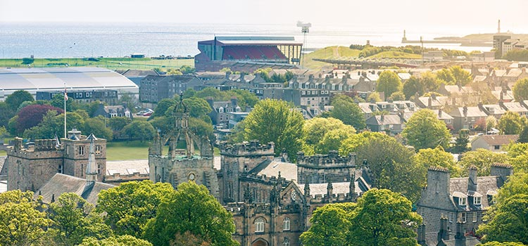 Aerial shot of Aberdeen