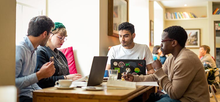 Students doing work in a Cafe in Aberdeen