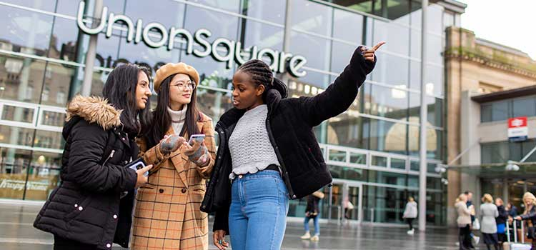 Students outside of Union Square shopping centre in Aberdeen