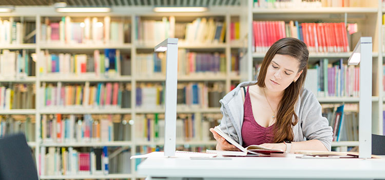 An international student studying in the Sir Duncan Rice library at the University of Aberdeen