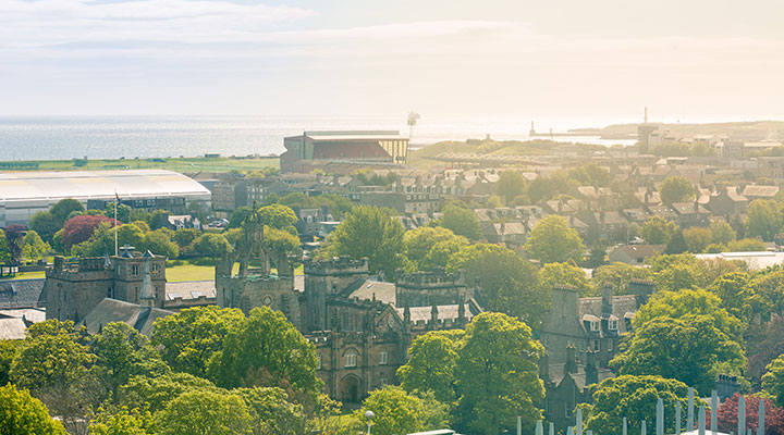 A view of Aberdeen from the top floor of the Sir Duncan Rice library at the University of Aberdeen