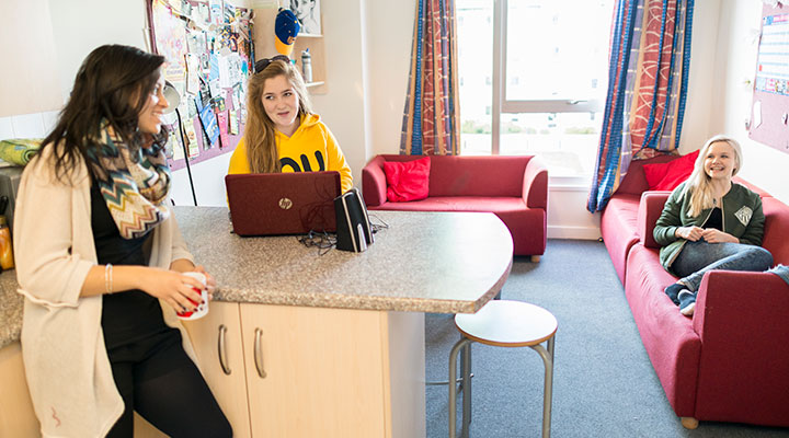 A group of students in accommodation at the University of Aberdeen