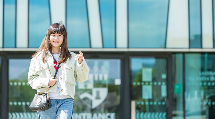 An international student on campus at the University of Aberdeen